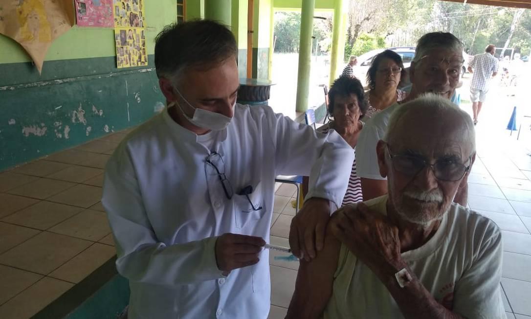Vacinação contra gripe em Alegrete, interior do Rio Grande do Sul Foto: Divulgação / Prefeitura de Alegrete