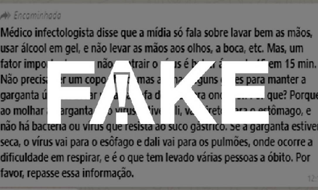 É #FAKE que beber água a cada 15 minutos previne a Covid-19 Foto: Reprodução