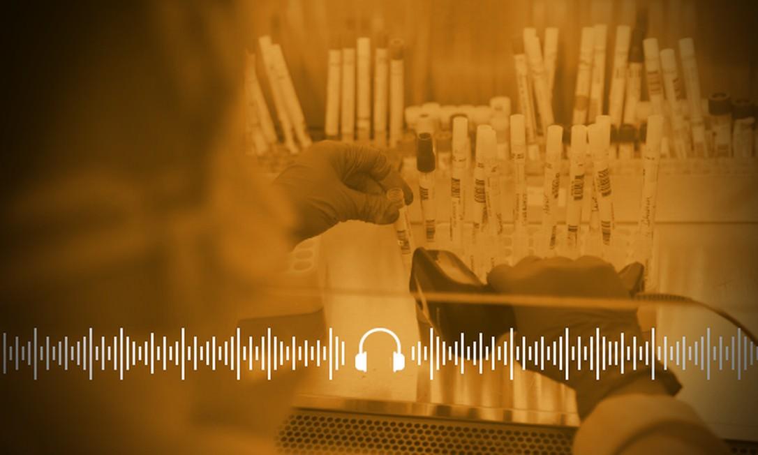 No laboratório, especialista analisa amostras de testes do novo coronavírus Foto: Arte