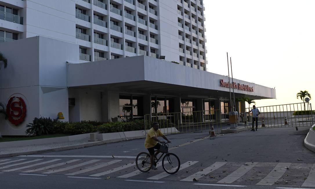 O hotel Sheraton Rio, em São Conrado, um dos maiores da Zona Sul, está temporariamente fechado devido à falta de hóspedes. 03-04/2020 Foto: LUCAS LANDAU / REUTERS