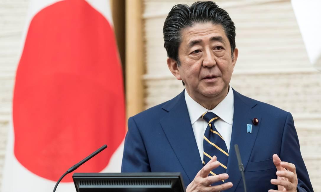 O primeiro ministro Shinzo Abe declarou estado de emergência no Japão Foto: POOL / REUTERS