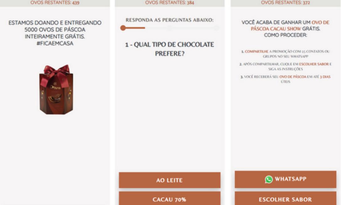 Golpistas forjam comunicação de loja de chocolate e pedem que o usuário responda a um questionário Foto: Reprodução