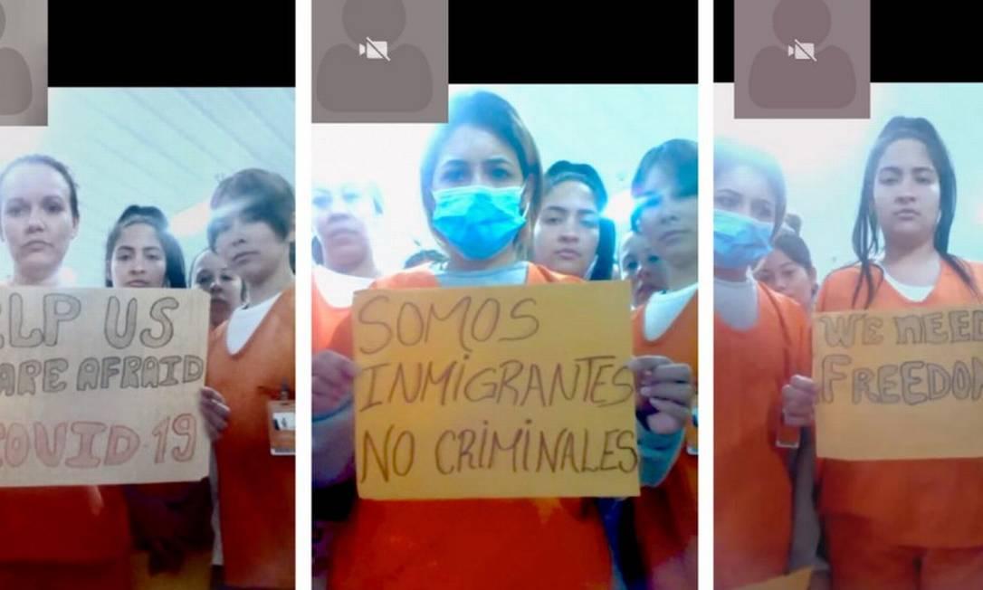 Imigrantes sob custódia do ICE na Louisiana seguram cartazes em protesto à conduta da organização frente à pandemia Foto: HANDOUT / VIA REUTERS