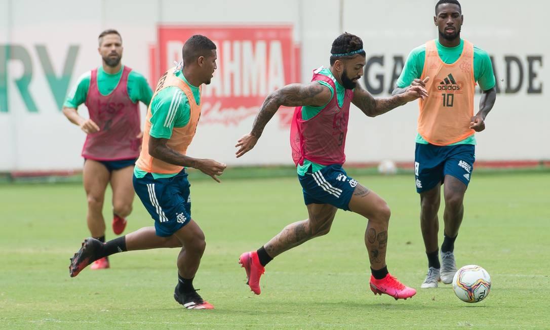 Jogadores em treino do Flamengo Foto: Divulgação