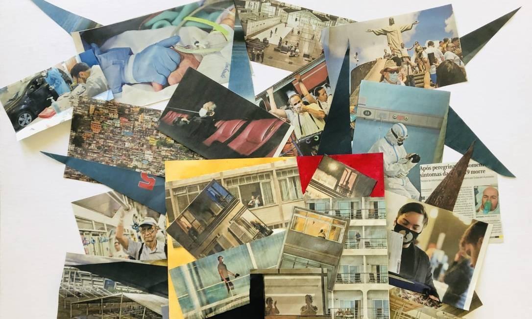 Colagens de recortes de jornal feitos pelo artista plástico Carlos Vergara durante a quarentena Foto: Arquivo pessoal