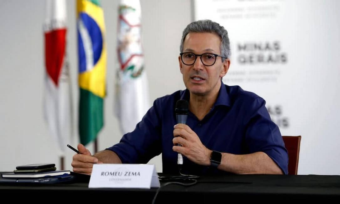 O governador de Minas Gerais, Romeu Zema, durante pronunciamento Foto: Reprodução/Facebook