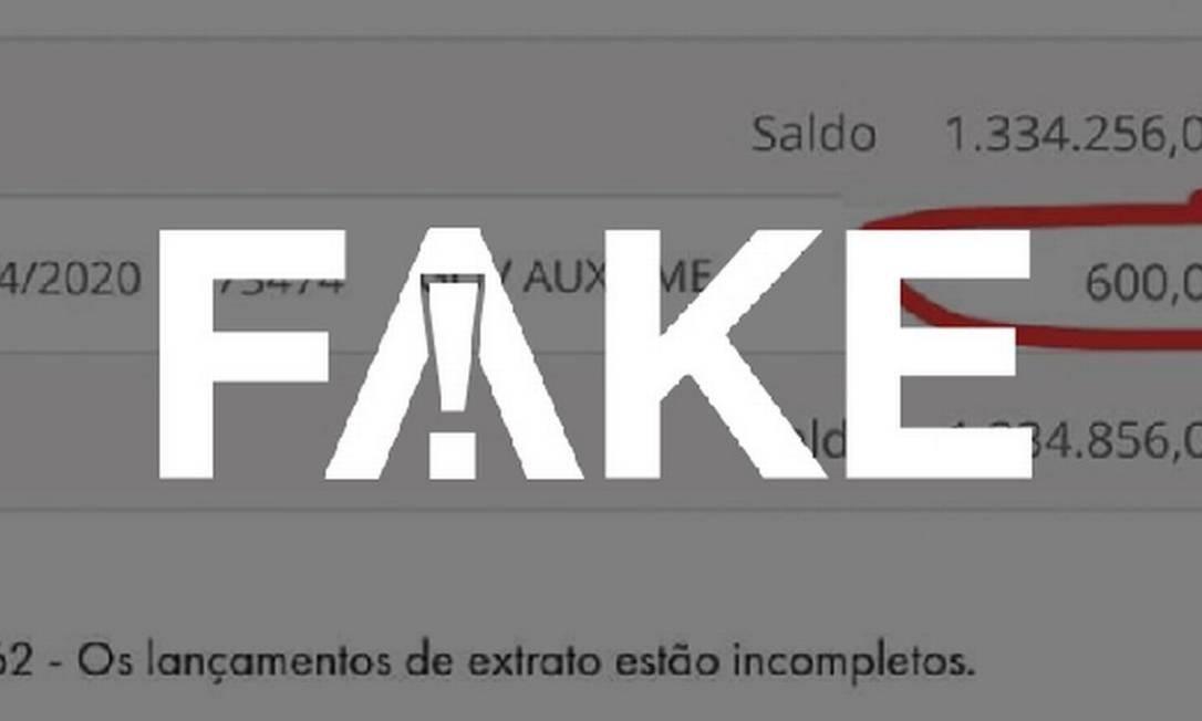 É #FAKE imagem de extrato bancário com depósito de auxílio emergencial em conta com saldo milionário Foto: Reprodução