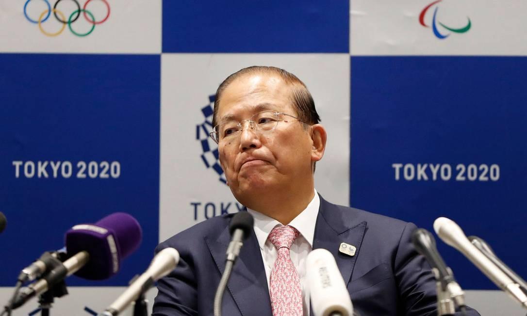 Toshiro Muto, CEO de Tóquio-2020, em entrevista coletiva Foto: ISSEI KATO / AFP