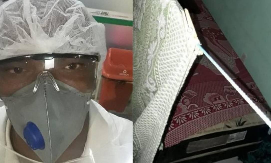 O técnico em enfermagem Joseildo dorme no chão do lado de fora de casa com medo de contagiar a mãe; ele não tem dinheiro para pagar um quartinho Foto: Arquivo pessoal