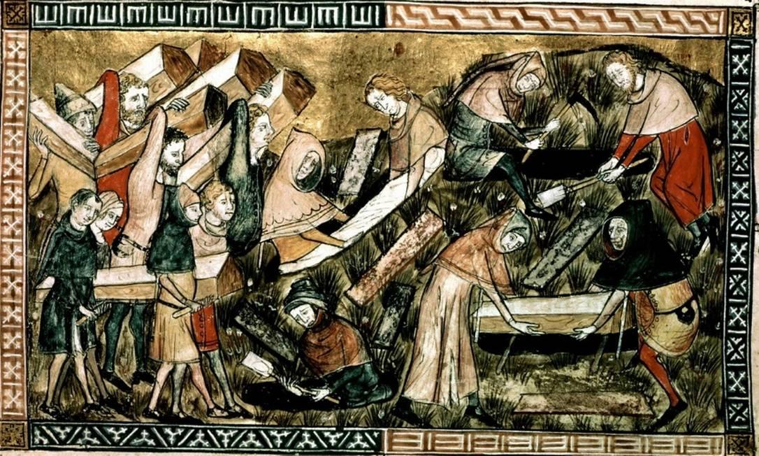 Enterro massivo de vítimas da peste em Tournai. Detalhe de uma miniatura das Crônicas de Gilles Li Muisis (ca. 1350) Foto: Reprodução