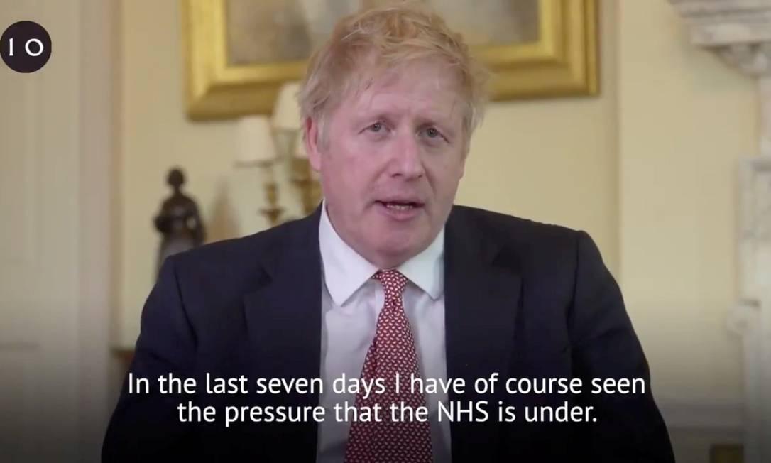 Boris Johnson agradece em vídeo ao serviço público de saúde após receber alta: ele passou uma semana hospitalizado com a Covid-19 Foto: @BorisJohnson / @BorisJohnson via REUTERS