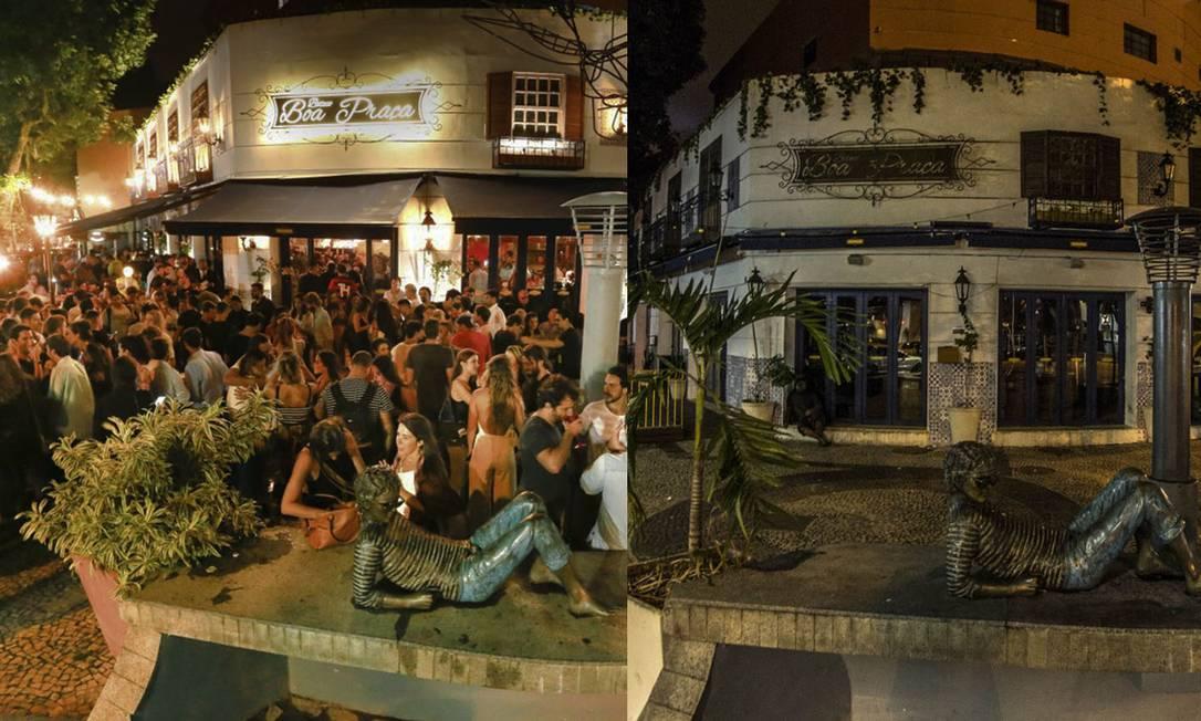Bar Boa Praça, na Rua Dias Ferreira, no Leblon, em maio de 2019 e, agora, em abril de 2020: noite perdeu a cor Foto: Roberto Moreyra (esq.) e Guito Moreto (dir.) / Agência O Globo