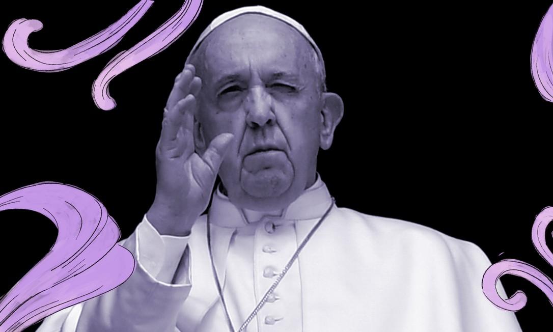 No Vaticano, o Papa Francisco dá sua benção. Logo antes, ele fez a oração do Angelus na biblioteca do palácio apostólico e, em sua mensagem aos fiéis, alertou para o risco de violência contra a mulher durante o período de isolamento social para conter o novo coronavírus Foto: VATICAN MEDIA / AFP