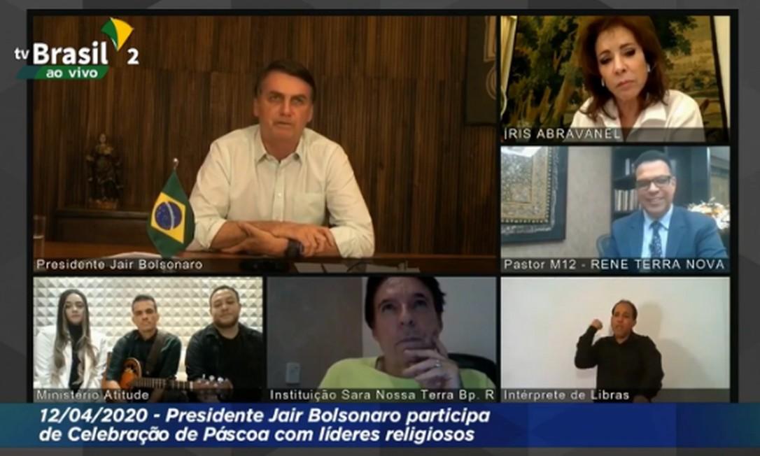 TV transmitiu live de Jair Bolsonaro com líderes religiosos Foto: Reprodução/TV Brasil
