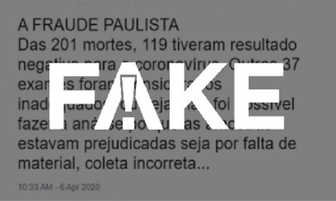 É #FAKE que governo de SP fez revisão de mortes confirmadas de Covid-19 e mais da metade teve resultado negativo Foto: Reprodução
