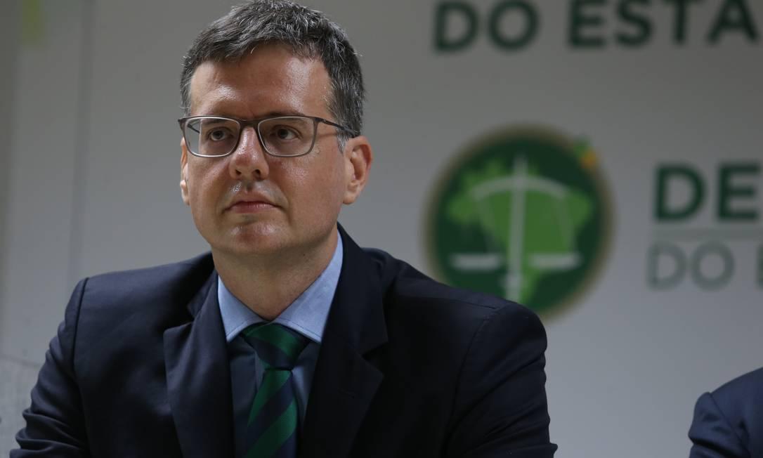 Rodrigo Pacheco em sua posse no cargo de defensor público-geral, em janeiro de 2019 Foto: Pedro Teixeira / Agência O Globo