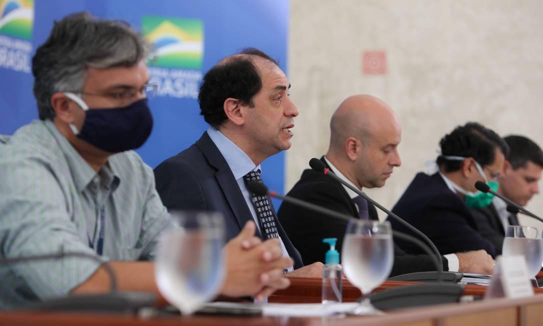 O secretário especial de Fazenda, Waldery Rodrigues, durante entrevista coletiva no Palácio do Planalto Foto: Julio Nascimento/Presidência