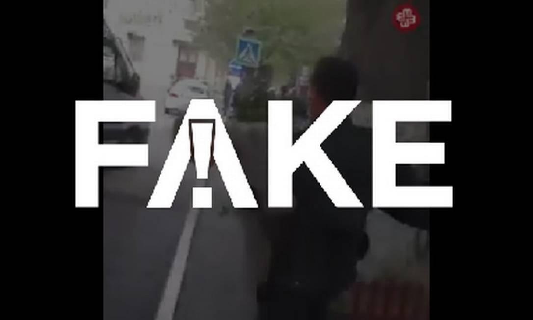 É #FAKE que vídeo mostre policiais agredindo cidadãos por descumprirem isolamento social na Turquia Foto: Reprodução