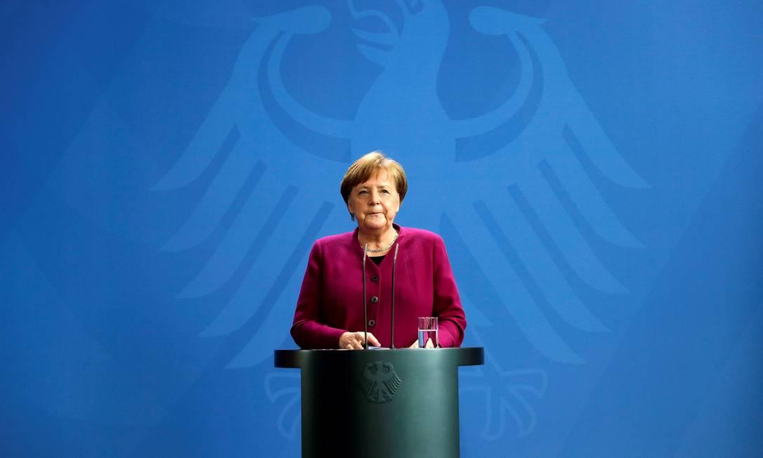 Em Berlim, a chanceler Angela Merkel participa de entrevista coletiva sobre a contenção do novo coronavírus Foto: POOL New / REUTERS/09-04-2020