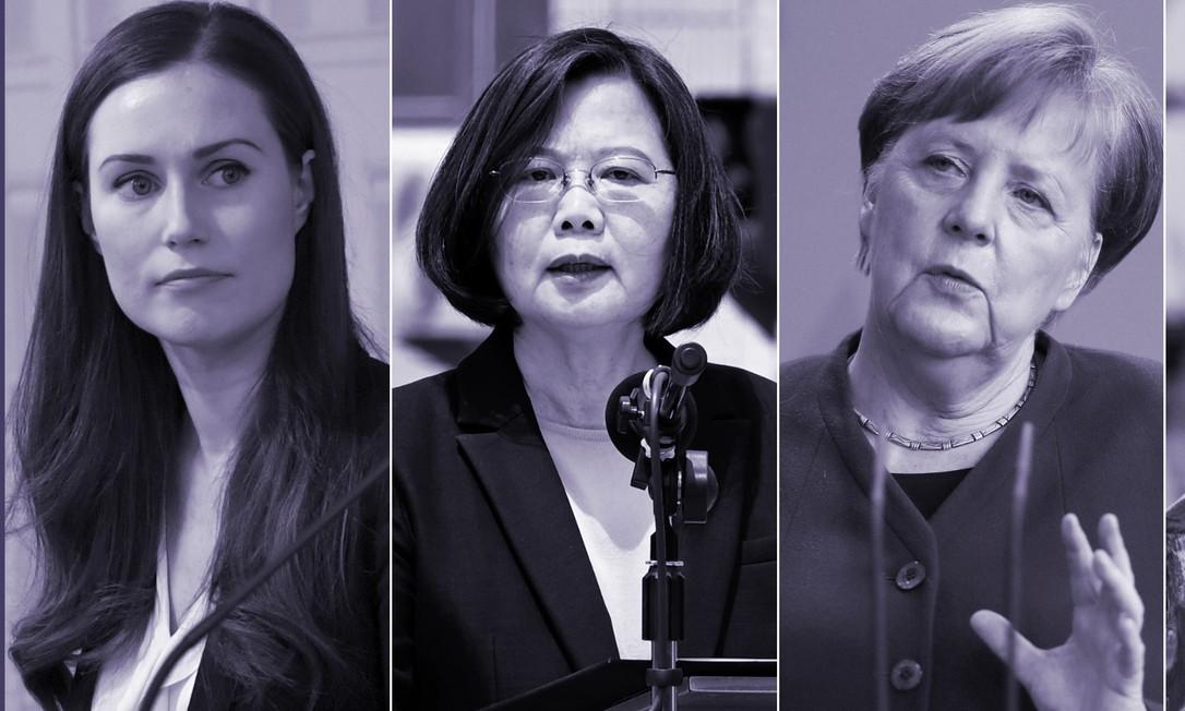Da esquerda para direita, as primeiras-ministras: Sanna Marin, da Finlândia; Tsai Ing-Wen, de Taiwan; Angela Merkel, da Alemanha; e Jacinda Ardern, Nova Zelândia Foto: AFP e Reuters