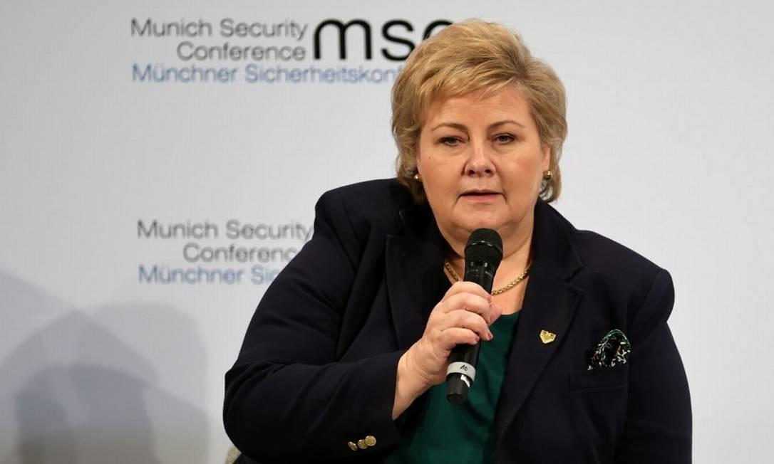 Primeira-ministra norueguesa, Erna Solberg, durante evento na Alemanha Foto: Andreas Gebert / REUTERS / 14-02-2020