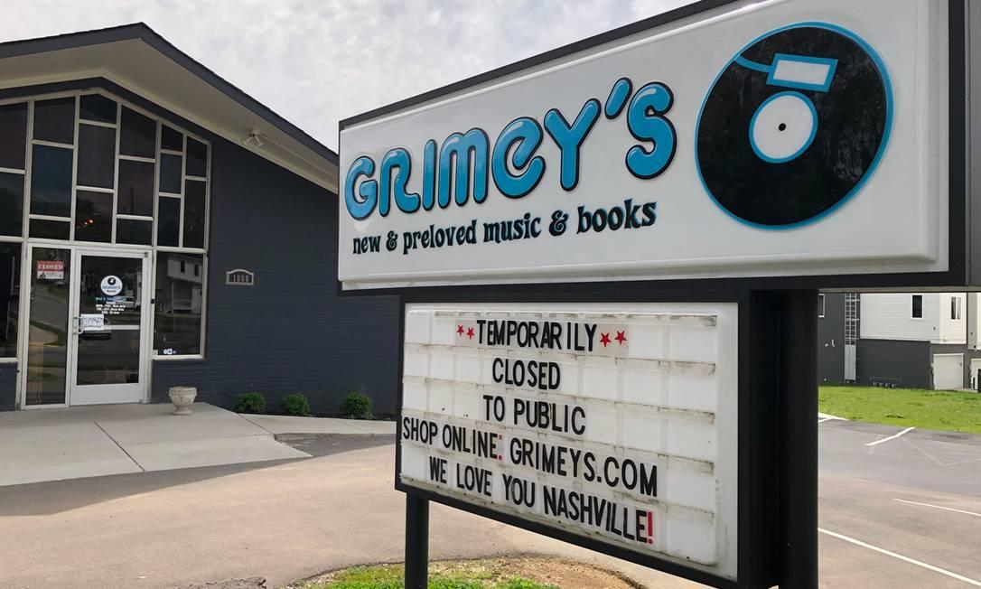 Loja de discos Grimey's New & Preloved Music, de Nashville, que foi ajudada pela cantora Taylor Swift para conseguir sobreviver à crise do coronavírus Foto: Divulgação