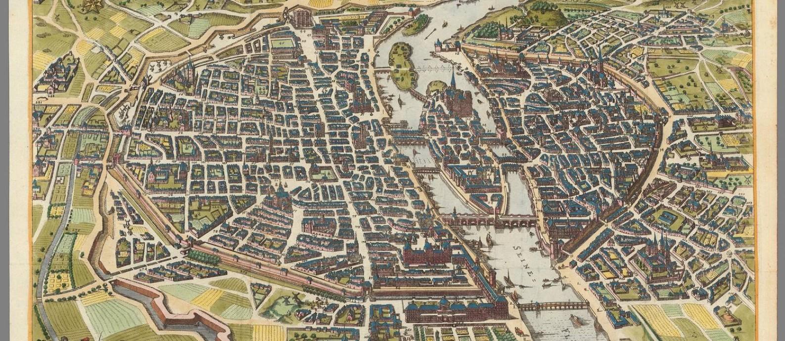 Mapa alemão de Paris em 1620, acervo da David Rumsey Maps Collection Foto: Reprodução / David Rumsey Maps Collection