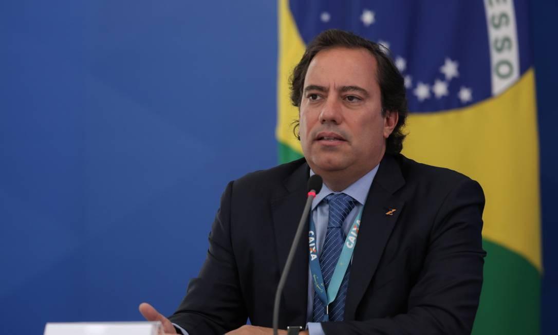 O presidente da Caixa, Pedro Guimarães, durante entrevista coletiva Foto: Júlio Nascimento/Presidência
