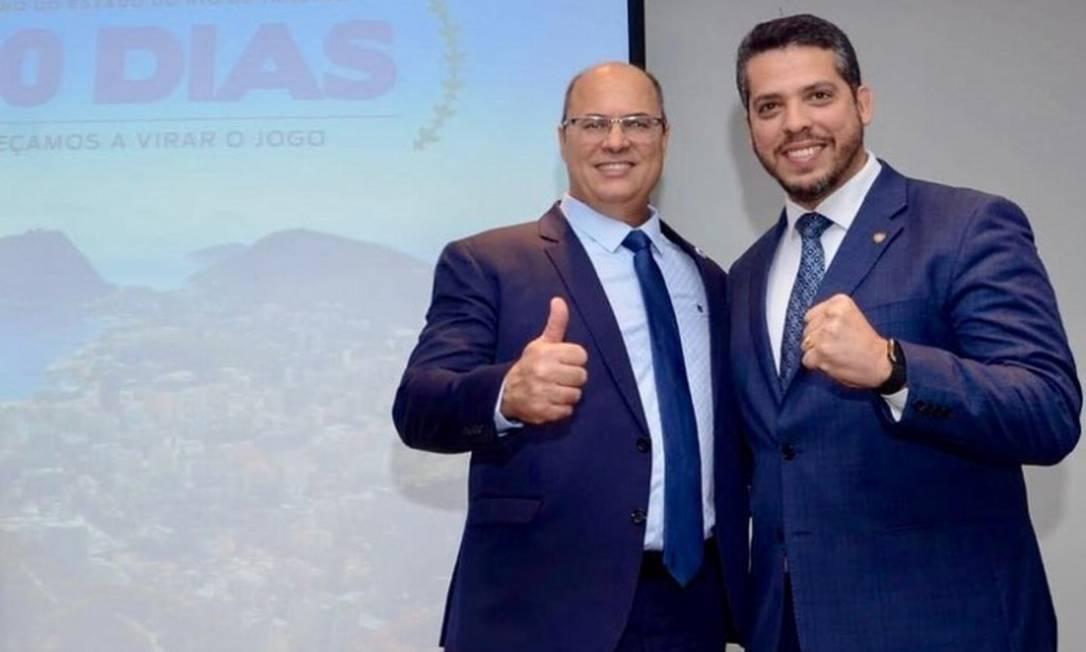 O governador Wilson Witzel e o deputado Rodrigo Amorim Foto: Reprodução Facebook