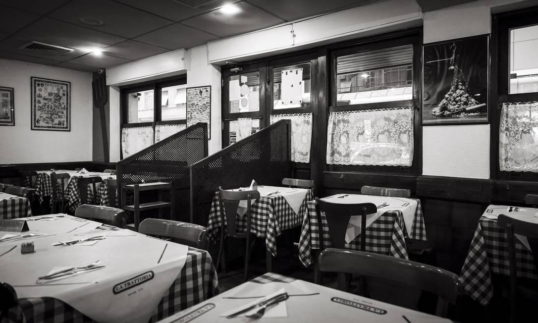 O restaurante Trattoria, roteiro do detetive Espinosa, personagem literário do romancista Luiz Alfredo Garcia-Roza, frequentado por criado e criatura Foto: Leo Martins / Agência O Globo