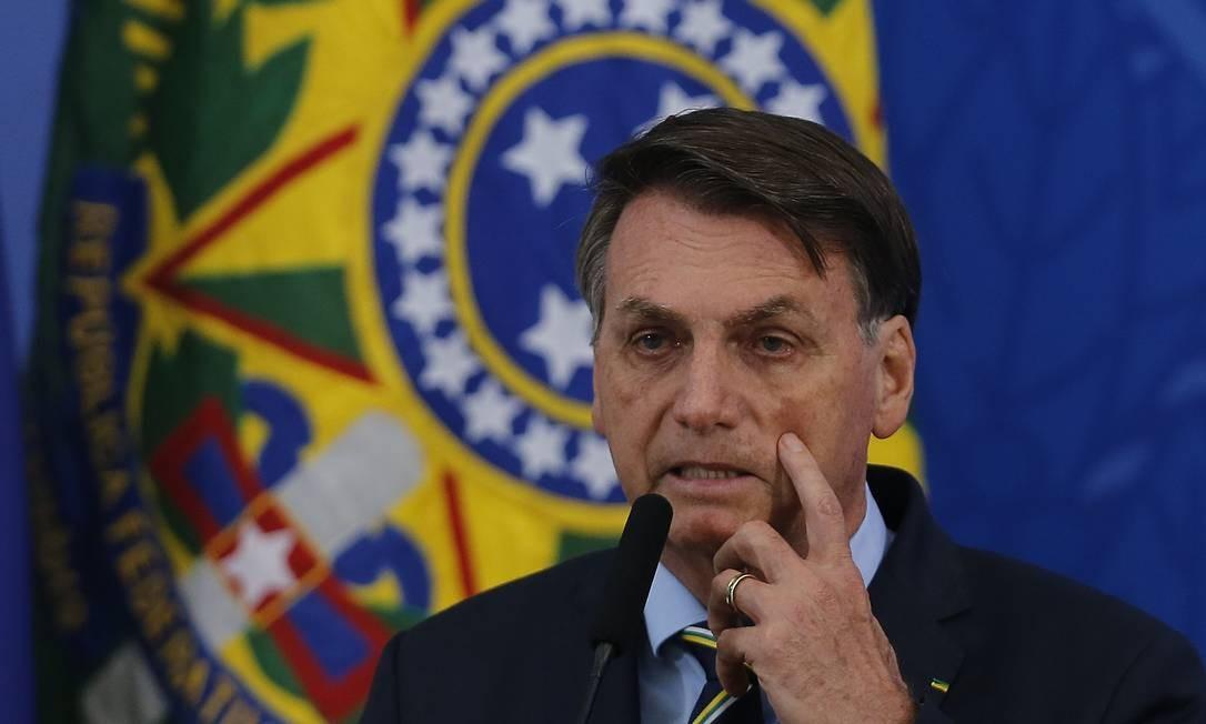 O presidente Jair Bolsonaro durante o anúncio do novo ministro da Saúde,Nelson Teich Foto: Jorge William / Agência O Globo