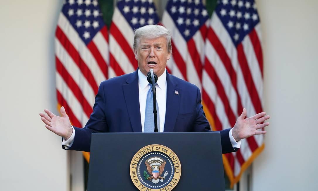 Presidente americano, Donald Trump, em entrevista coletiva diária sobre combate ao novo coronavírus Foto: MANDEL NGAN / AFP