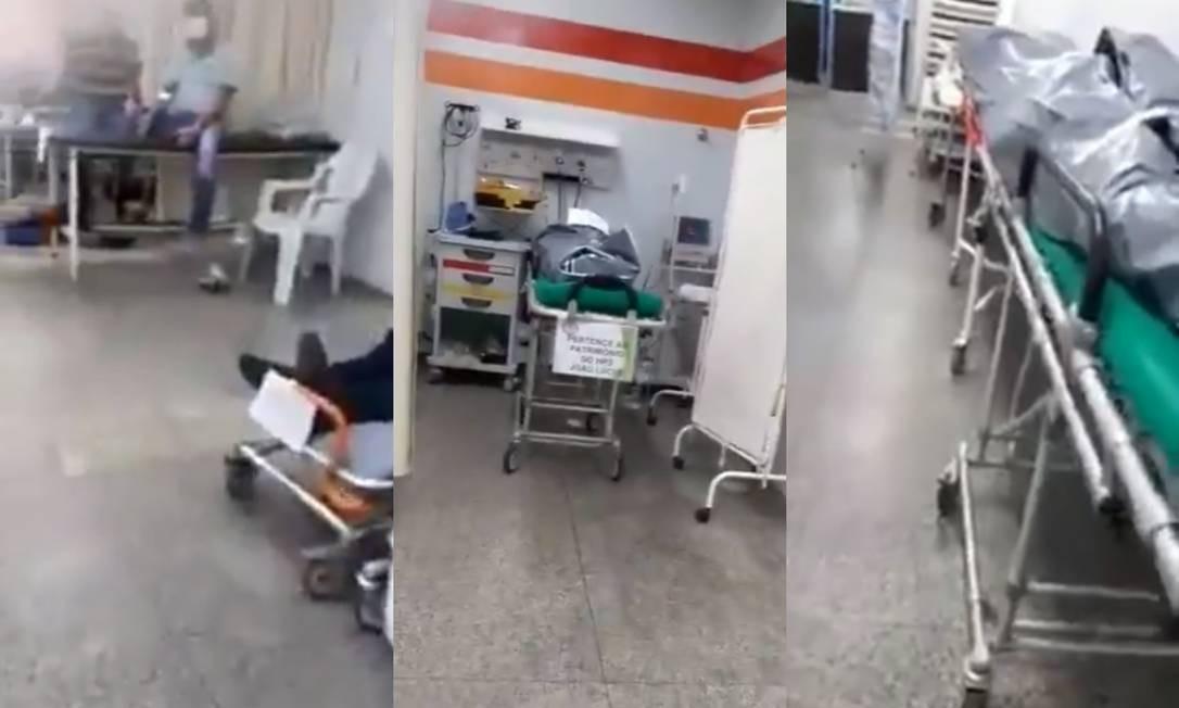 Imagens registradas na sala rosa do Hospital João Lúcio, na Zona Leste de Manaus, mostram corpos e pacientes dividindo o mesmo local Foto: Reprodução