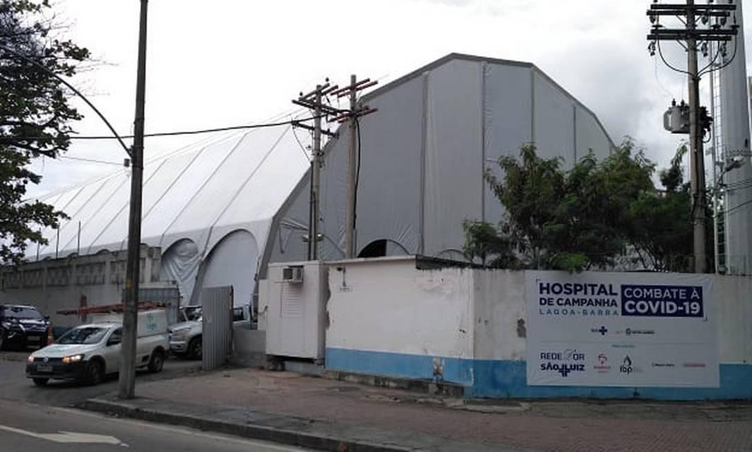 Montagem de hospital de campanha no Leblon Foto: Divulgação