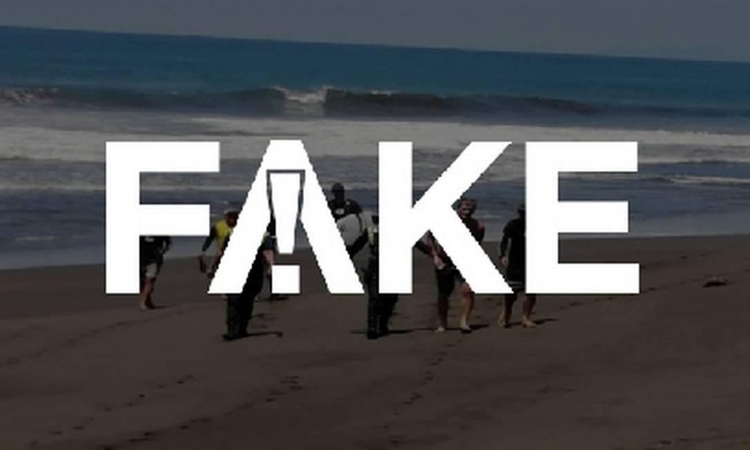É #FAKE que foto mostre surfista sendo preso em SP em meio a pandemia do coronavírus Foto: Reprodução