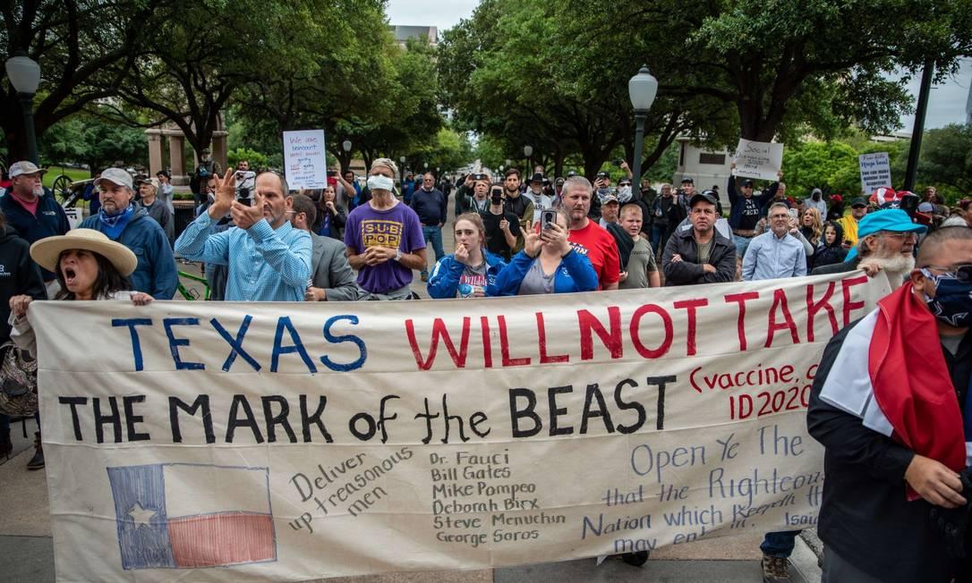 Manifestações em Austin, no Texas, para retomada da economia americana Foto: SERGIO FLORES / AFP