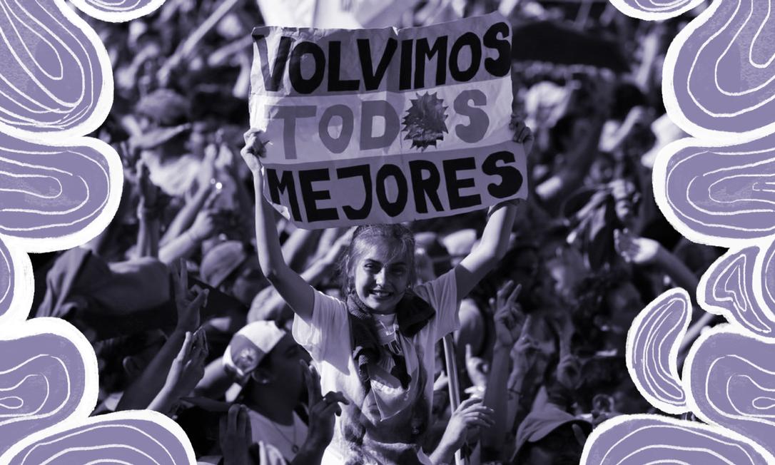 """Apoiadores do presidente argentino Alberto Fernández substituem o """"o"""" em """"todos"""" por um sol, de maneira que a palavra não seja mais masculina Foto: Marcos Brindissi/AP"""