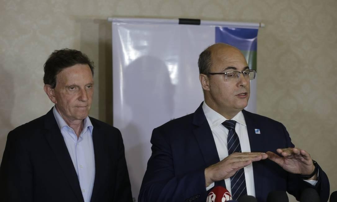 O prefeito Marcelo Crivella e o governador Wilson Witzel em uma reunião no Palácio Guanabara 26/06/2019 Foto: Domingos Peixoto / Agência O Globo