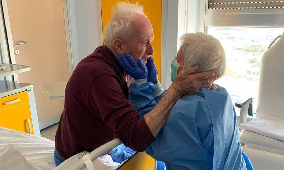 Reencontro de Giorgio e Rosa em hospital viralizou em redes sociais Foto: Reprodução