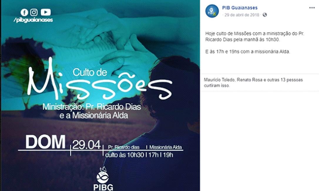 Anúncio do culto voltado para missões indígenas na Primeira Igreja Batista de Guaianases, ministrado por Ricardo Dias Lopes em 2018 Foto: Reprodução