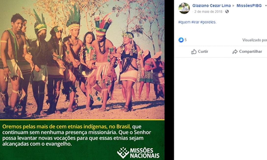 Postagem do coordenador do grupo e do setor de Missões da Primeira Igreja Batista, Glaziano Lima Foto: Reprodução