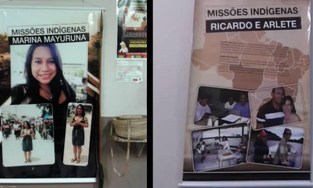 Painéis de um curso de evangelizaçao de indígenas orientado por Ricardo Dias Lopes e Mariana Mayoruna em igreja de São Paulo Foto: Reprodiução