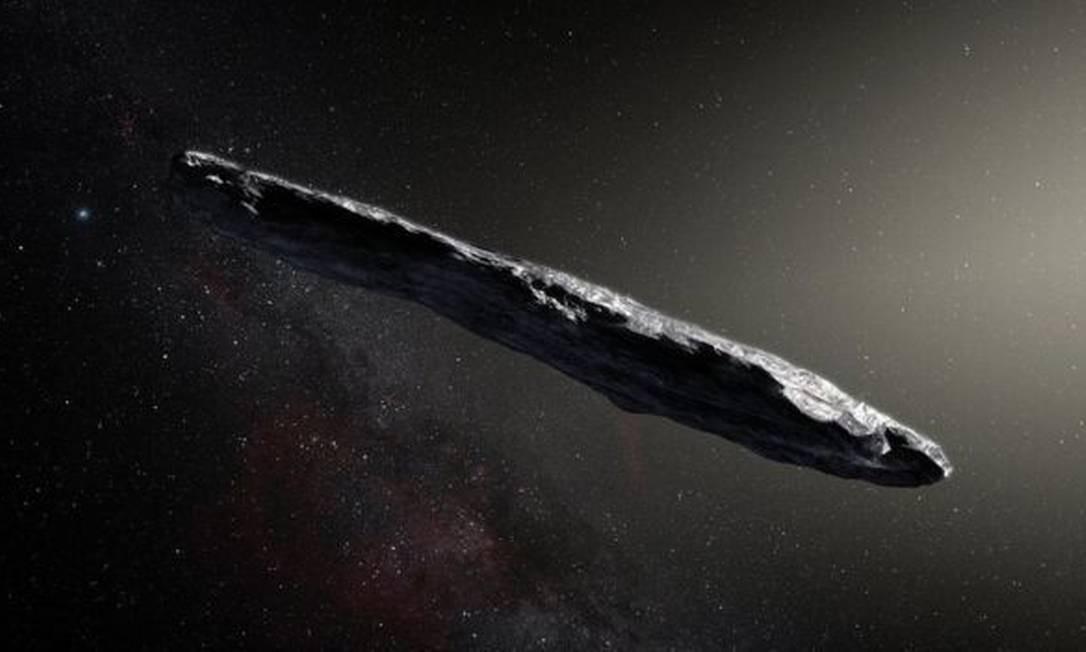 Oumuamua, detectado em 2017, foi o primeiro visitante de fora do nosso Sistema Solar identificado por nós Foto: ESO/M. KORNMESSER