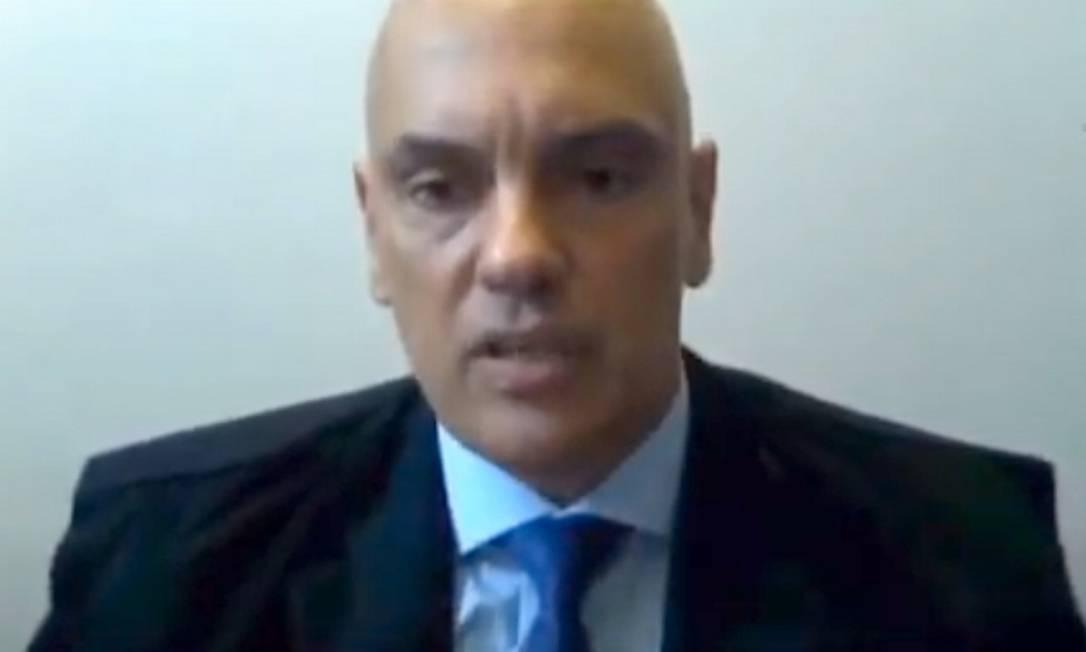 O ministro Alexandre de Moraes em sessão por teleconferência 15/04/2020 Foto: Reprodução