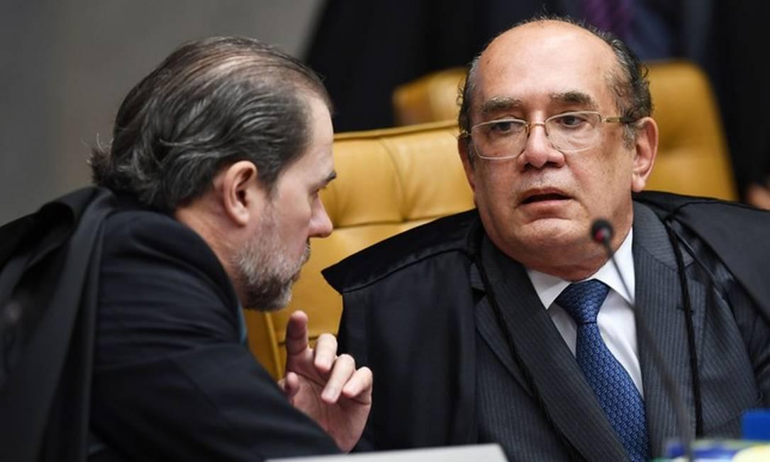 Os ministros Dias Toffoli e Gilmar Mendes Foto: Evaristo Sá / AFP