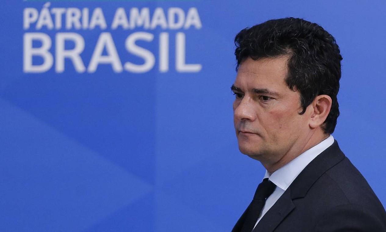 Moro participa da coletiva, em 13 de abril, para anunciar o boletim epidemiológico sobre a Covid-19 no país Foto: Jorge William / Agência O Globo