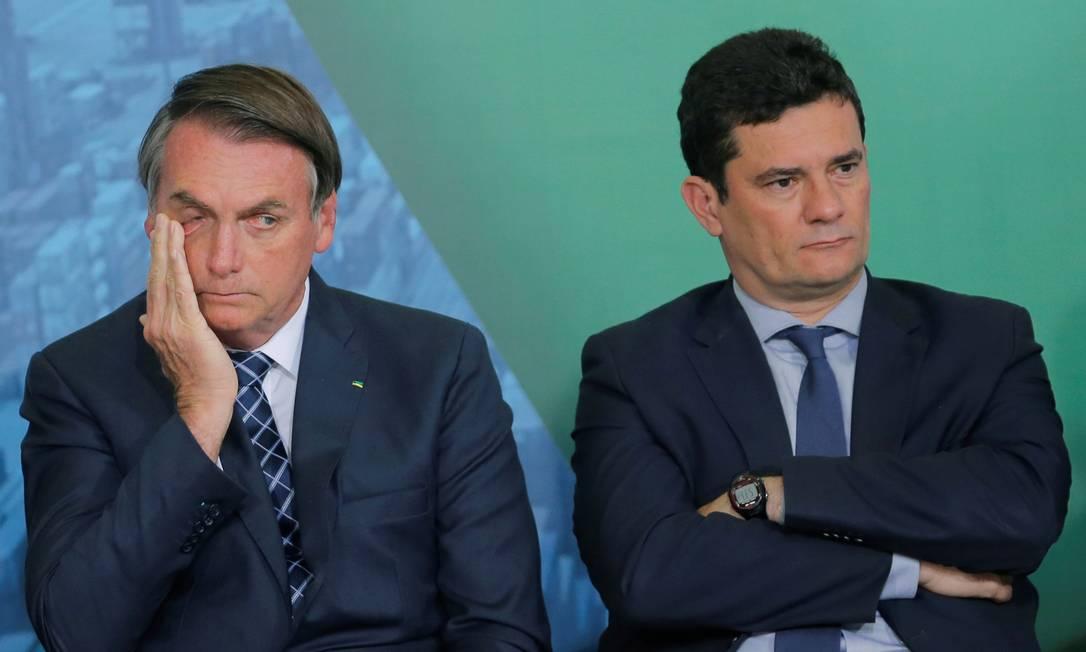 Bolsonaro and Moro during a ceremony at the Planalto Palace in Brasilia Photo: Adriano Machado / Reuters - 18.12.2019.