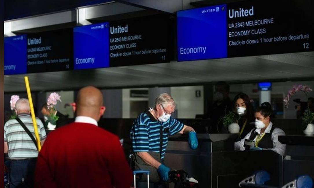 Guichê da United Airlines no Aeroporto Internacional de San Francisco, nos EUA Foto: Reuters