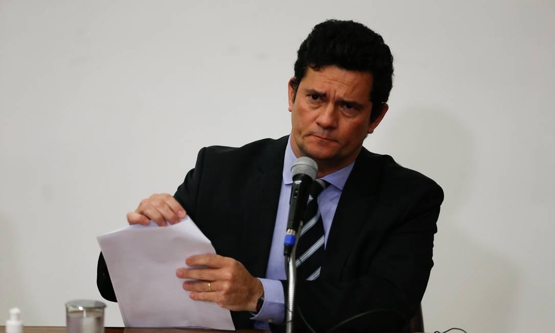 Durante coletiva, menções a Moro tiveram pico com 68,4 mil postagens em menos de uma hora Foto: Pablo Jacob / Agência O Globo