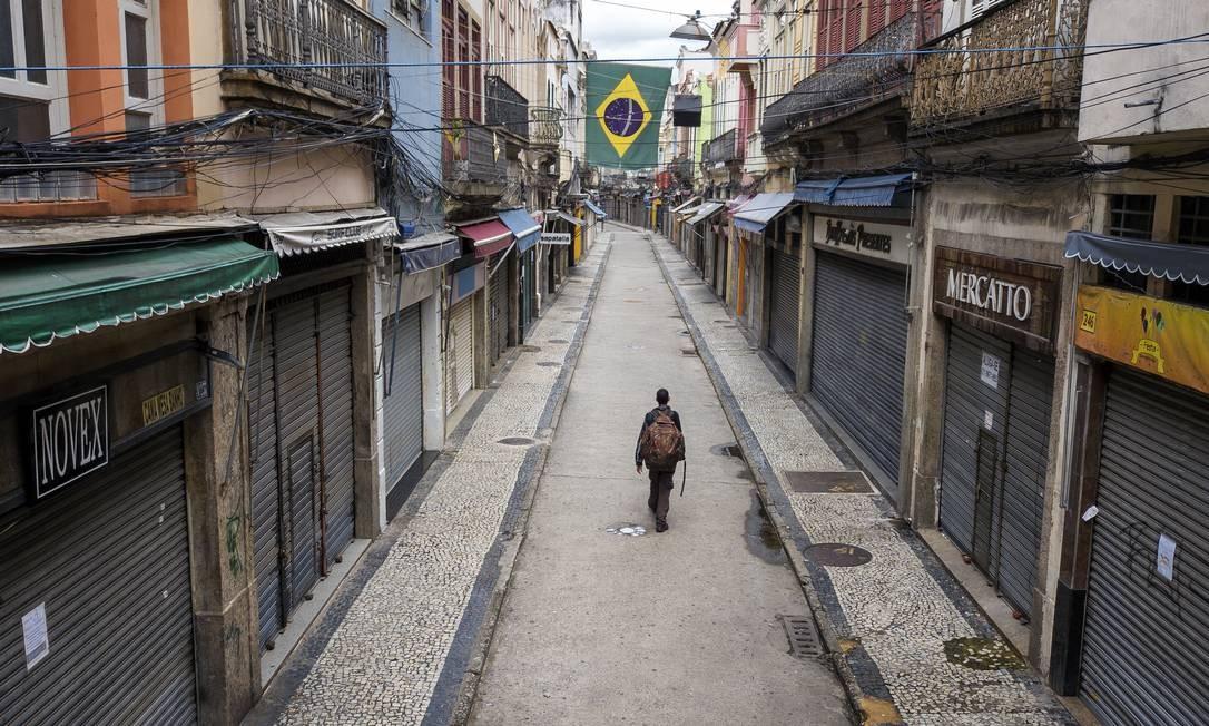 Região central do Rio de Janeiro vazia durante a quarentena Foto: Buda Mendes / Getty Images